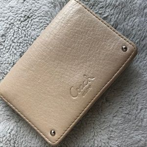 Coach Small Wallet Card Case Champagne Leather